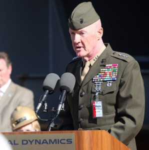 Lt. Gen. Richard P. Mills, deputy commandant for Combat Development and Integration, speaks in front of guests during a keel laying ceremony for the first mobile landing platform ship at the General Dynamics NASSCO shipyard in San Diego, Jan 19. Ceremony honoree Mrs. Pat Mills, wife of Lt. Gen. Mills, received the privilege of welding her initials into a steel plate to be permanently attached to the ship.